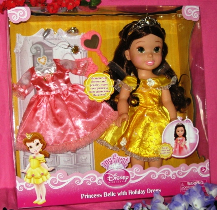 Princess Belle Doll with Heart Necklace Closeup
