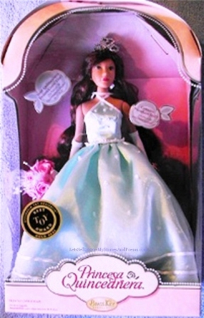 Princess Quinceanera Doll Turquoise Blue Aqua Gown Brass Key Keepsake